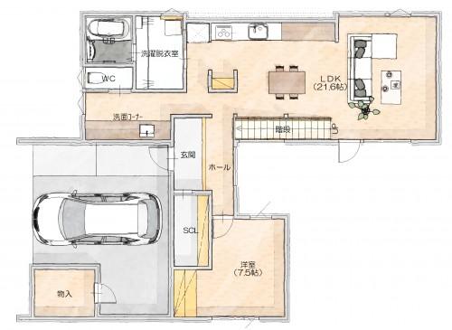 N邸1階平面図